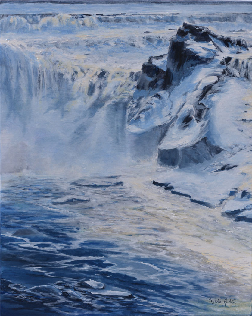 FALL IN SPRING : WATER, MIST, ICE.    30X24